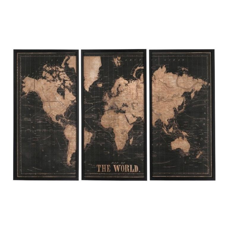 J-Line Wanddecoratie 'Dymphna' 3-delig, Wereldkaart, kleur Zwart / Bruin