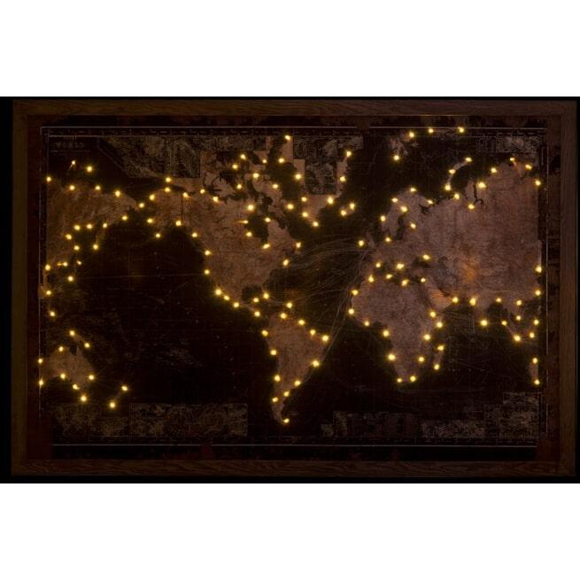 J-Line Wanddecoratie 'Josefa' Lichtjes, Wereldkaart, kleur Zwart / Bruin