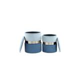 Kayoom Poef 'Zora' set van 2 stuks, kleur blauw / lichtblauw