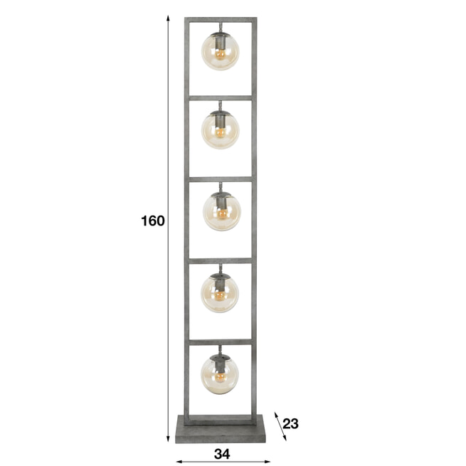 Vloerlamp 'Ferry' 5-lamps, Ø15cm