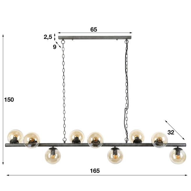 Hanglamp 'Jinte' 9-lamps, Ø15cm