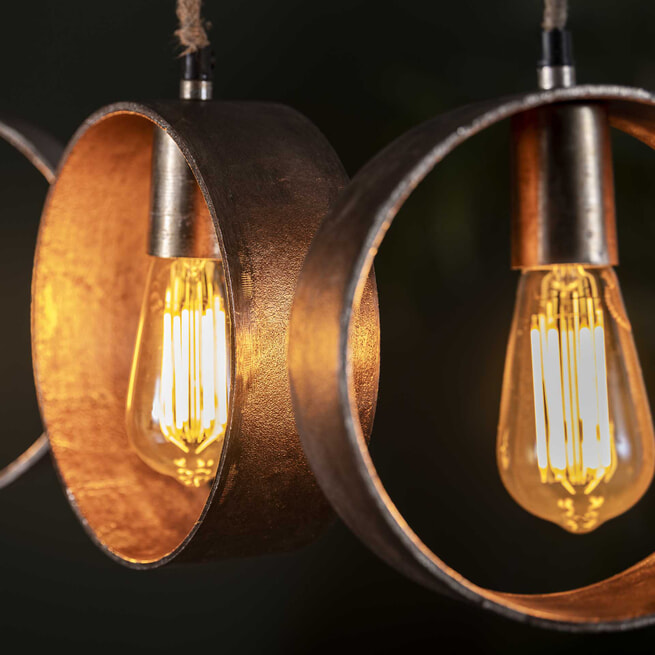 Hanglamp 'Kristi' 5-lamps, kleur Antiek Nikkel
