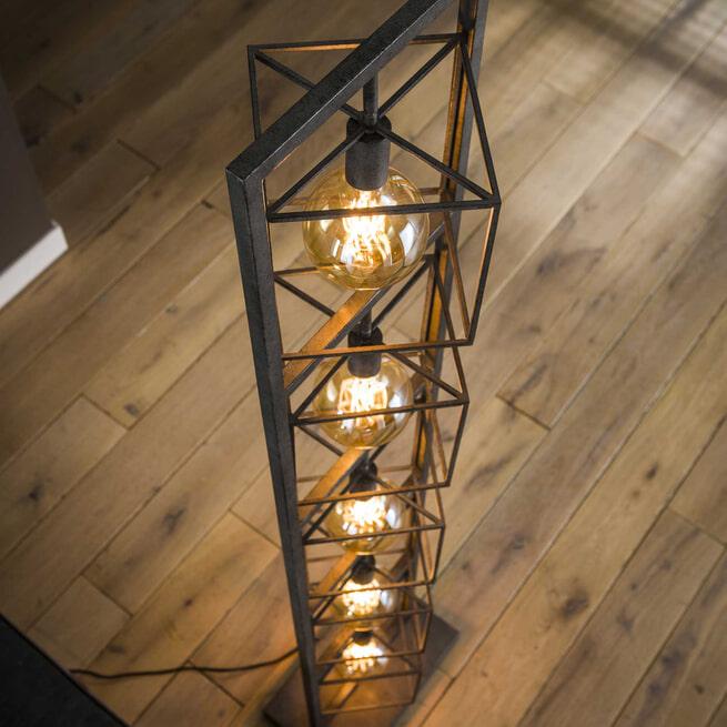 Vloerlamp 'Brittney' 5-lamps, kleur Oud Zilver