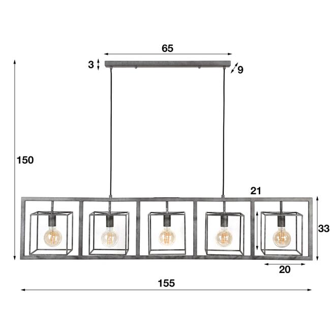 Hanglamp 'Brittney' 5-lamps, kleur Oud Zilver