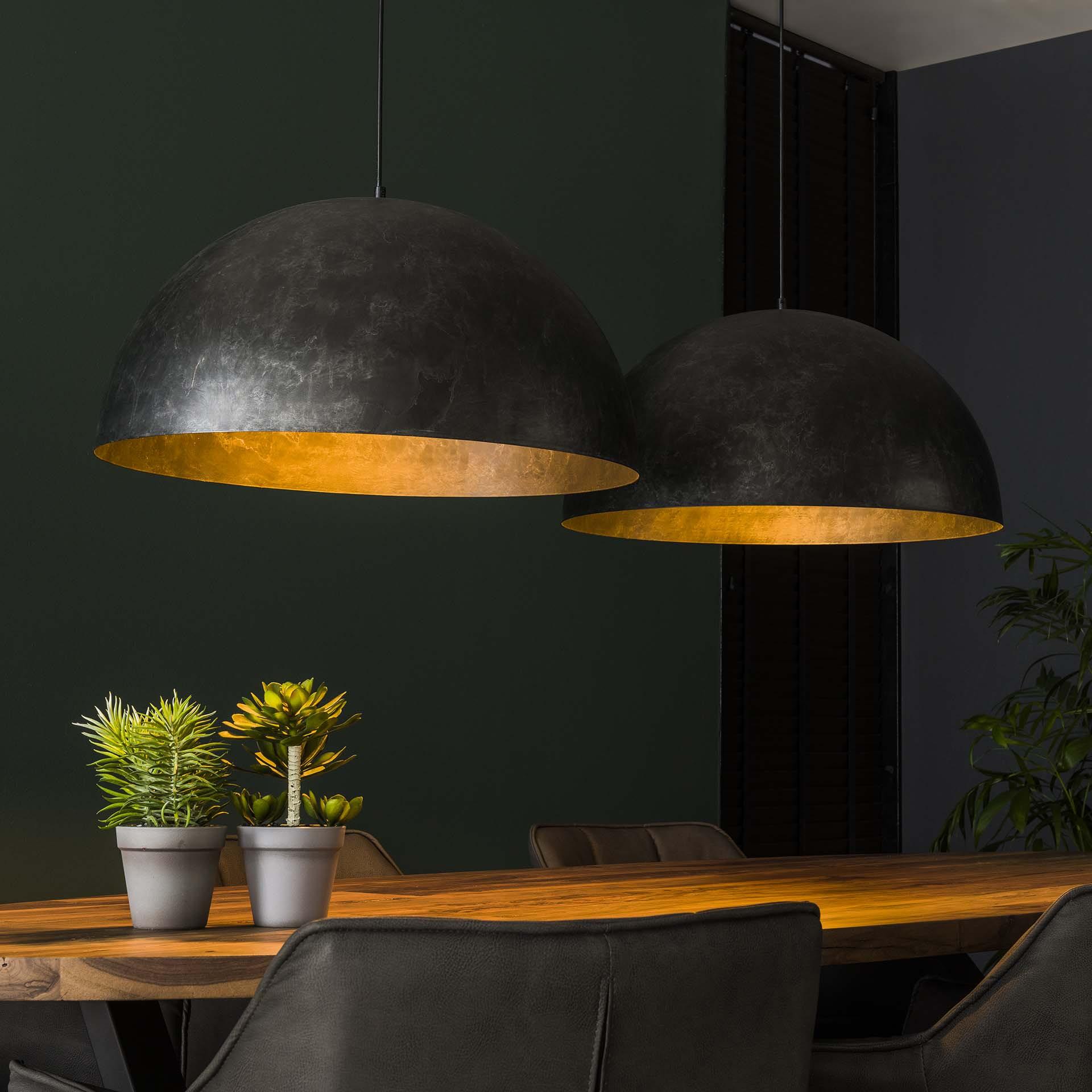 Hanglamp 'Dome' 2-lamps, Ø60cm, kleur Charcoal