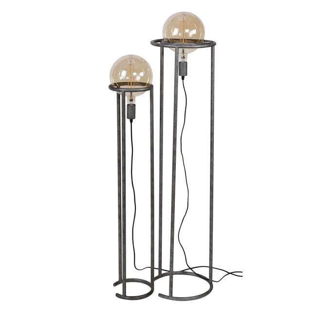 Vloerlamp 'Kerri' 2-lamps, Ø200mm, kleur Oud Zilver