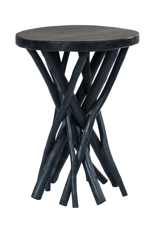 Kayoom Bijzettafel 'Radix' Teakhout, 40cm, kleur zwart