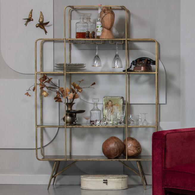 BePureHome Wijnkast 'Cheers', kleur Antique Brass