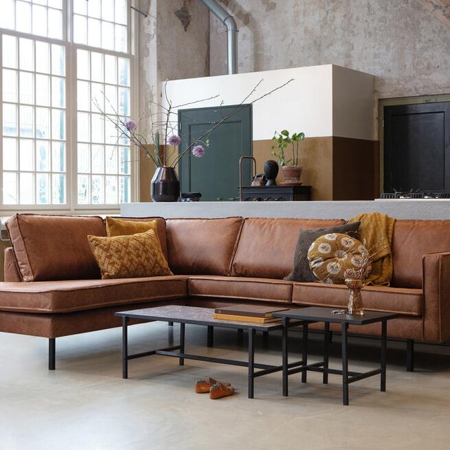 BePureHome Loungebank 'Rodeo' Links, kleur Cognac