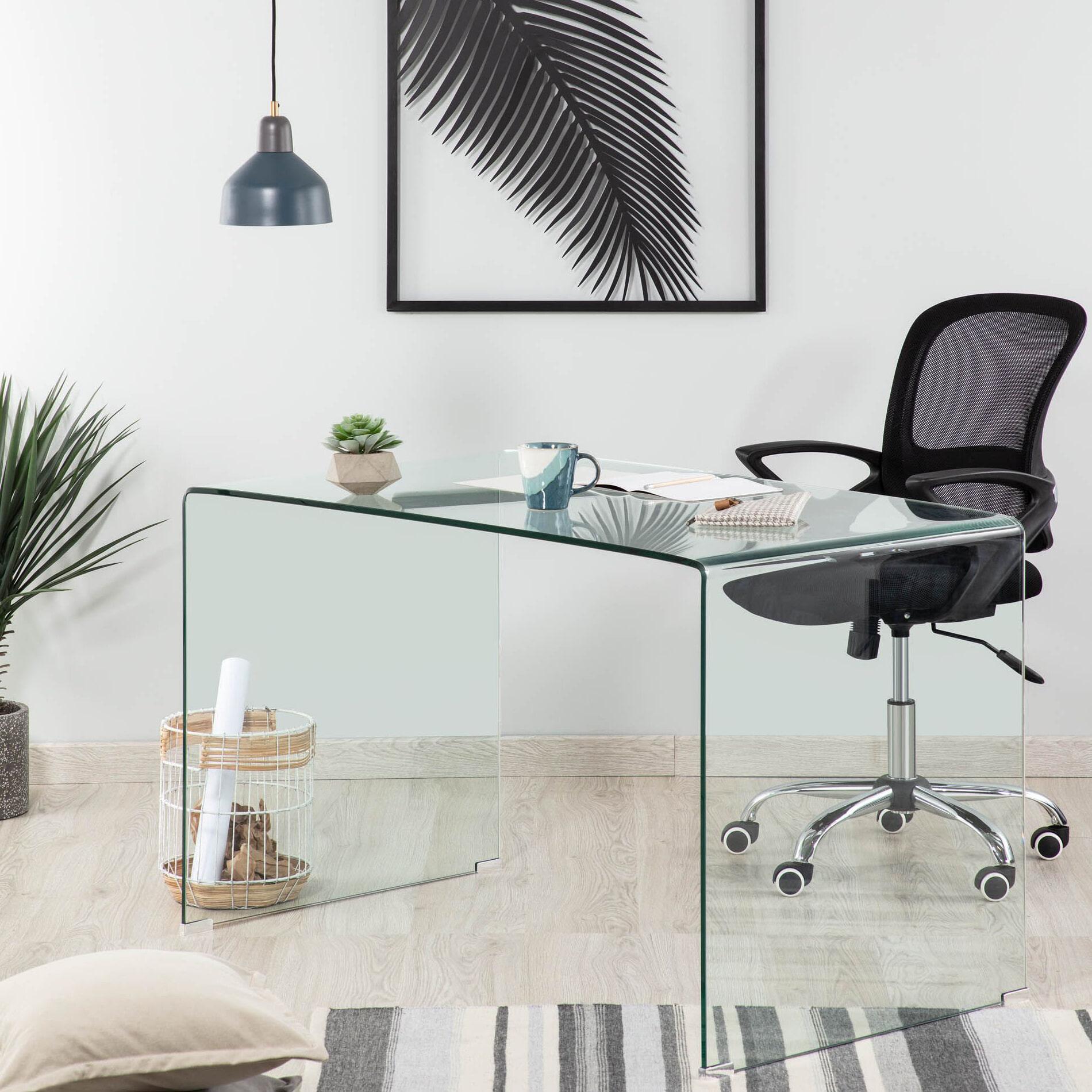 Kave Home Glazen Bureau 'Burano', 125 x 70 cm