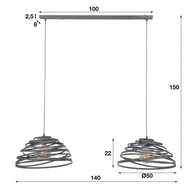 Hanglamp 'Twister' 2-lamps Ø50cm