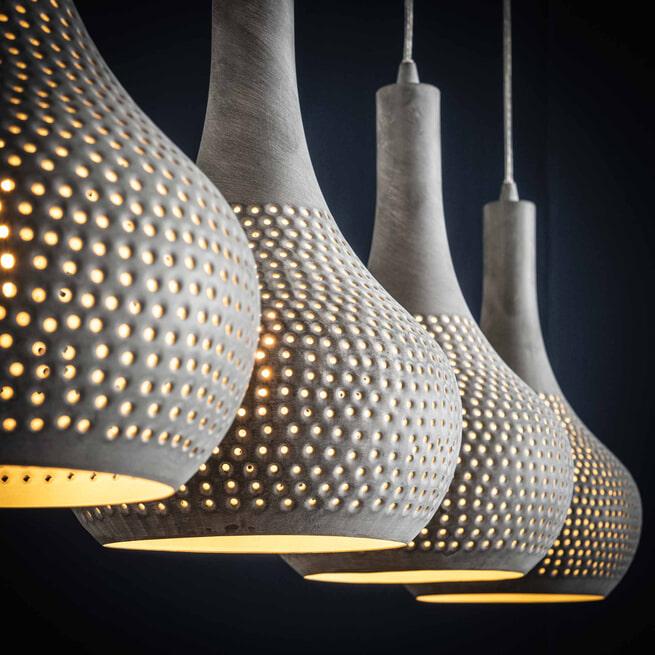 Hanglamp 'Judd' 4-lamps, kleur grijs