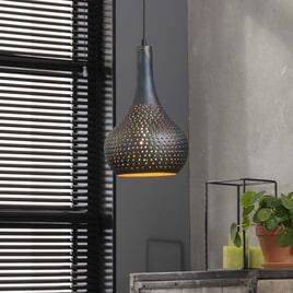 Hanglamp 'Judd' 1-lamps, 25cm kleur Zwart / bruin