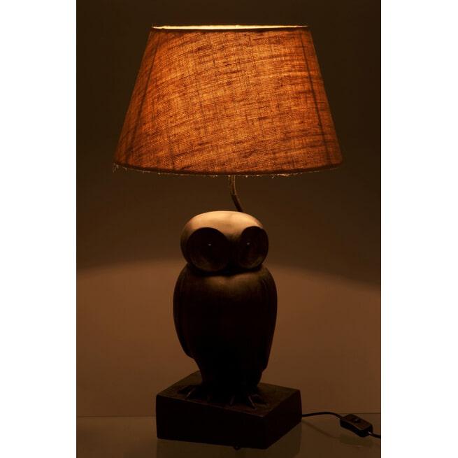 J-Line Tafellamp 'Mathys' Uil, kleur Donkerbruin, Ø35,5cm