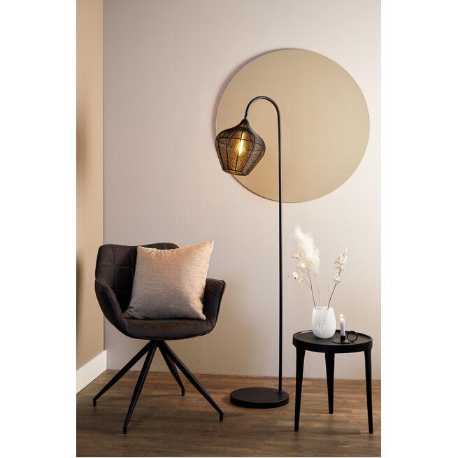 Light & Living Vloerlamp 'Alvaro' 160cm, kleur Mat Zwart