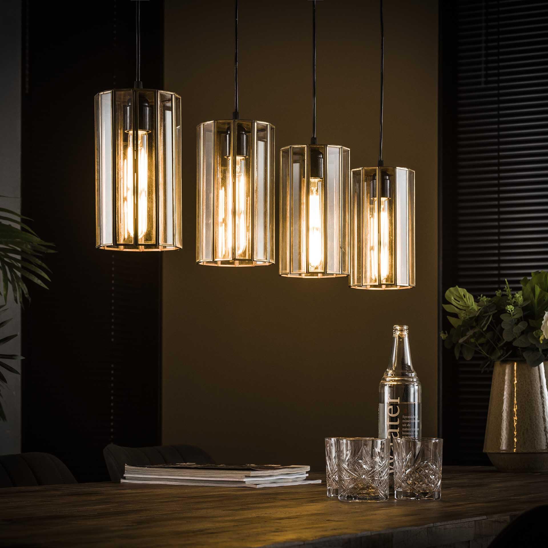 Hanglamp 'Douwe' 4-lamps, kleur Brons antiek