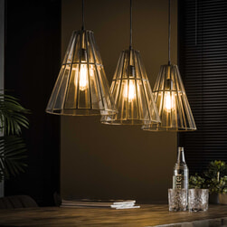 Hanglamp 'Douwe' 3-lamps, kleur Brons antiek