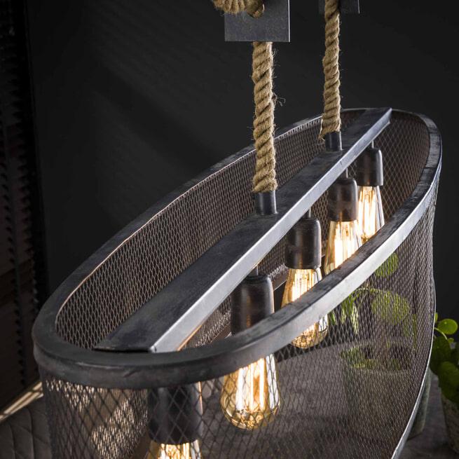 LifestyleFurn Hanglamp 'Chloe' 5-Lamps, kleur Grijs