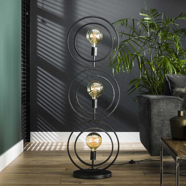 Vloerlamp 'Micheal', Metaal, 3-lamps, 124cm, kleur Zwart
