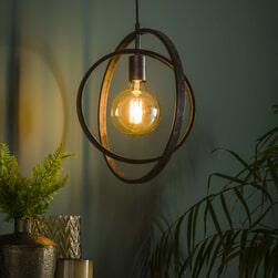 Hanglamp 'Darrell', Metaal, 40 x 30cm, kleur Zwart