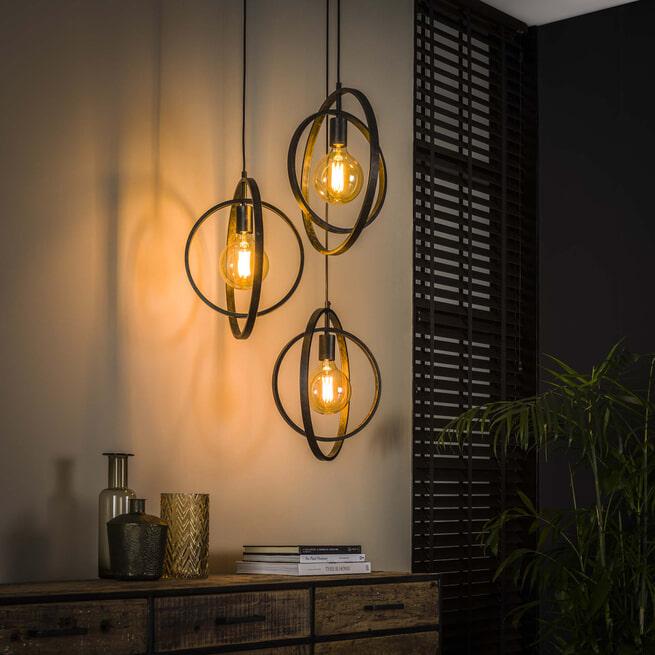 Hanglamp 'Darin', Metaal, 3-lamps, kleur Zwart