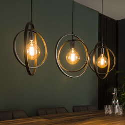 Hanglamp 'Tricia' 3-lamps, kleur Charcoal