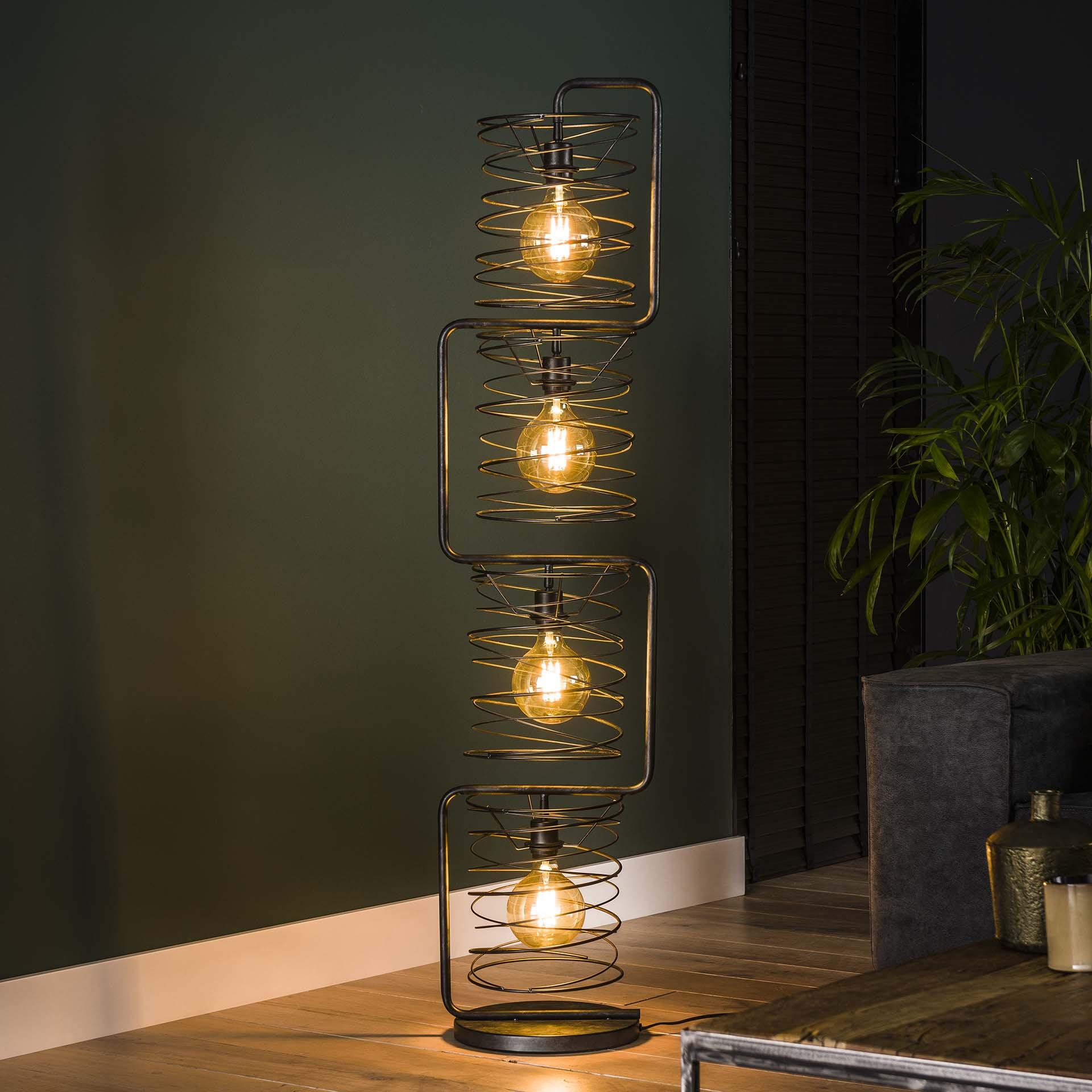 Vloerlamp 'Gwendolyn' 4-lamps, Ø25cm, kleur Charcoal