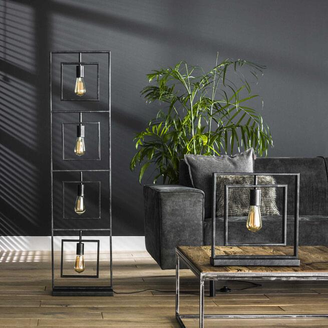 Vloerlamp 'Gerald' 4-lamps, kleur Charcoal