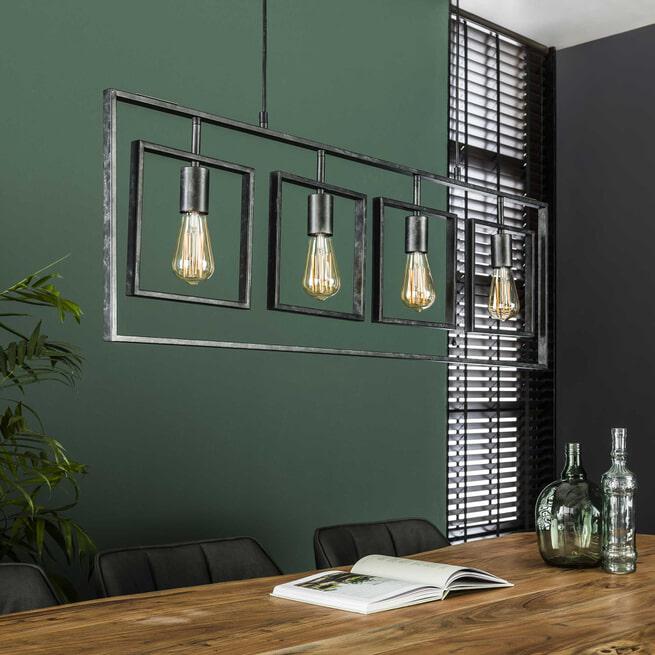 Hanglamp 'Errol', Metaal, 4-lamps, 109cm, kleur Zwart