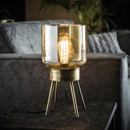 Tafellamp 'Laurens' met amber glas, 4-poot