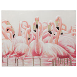 J-Line Canvas 'Hubertus' Flamingo's, kleur Roze