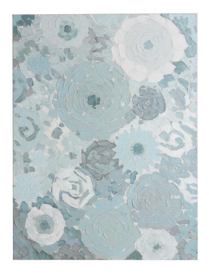 J-Line Schilderij 'Rogerius' Bloemen, kleur Mintblauw