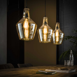 Hanglamp 'Laurens' met amber glas, 3-lamps