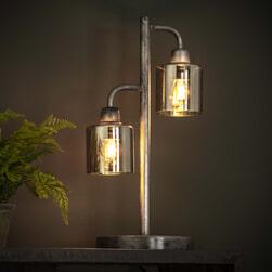 Tafellamp 'Lonnie' 2-lamps, Amber, kleur Oud Zilver