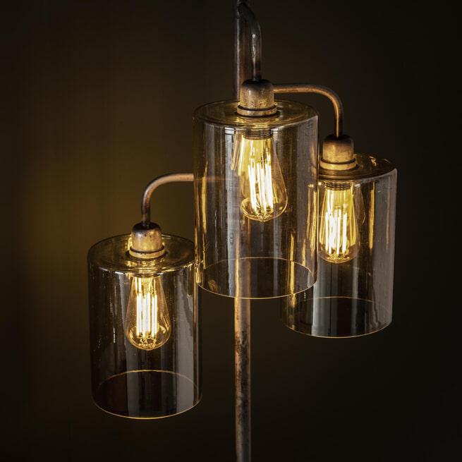 Vloerlamp 'Lonnie' 3-lamps, Amber, kleur Oud Zilver