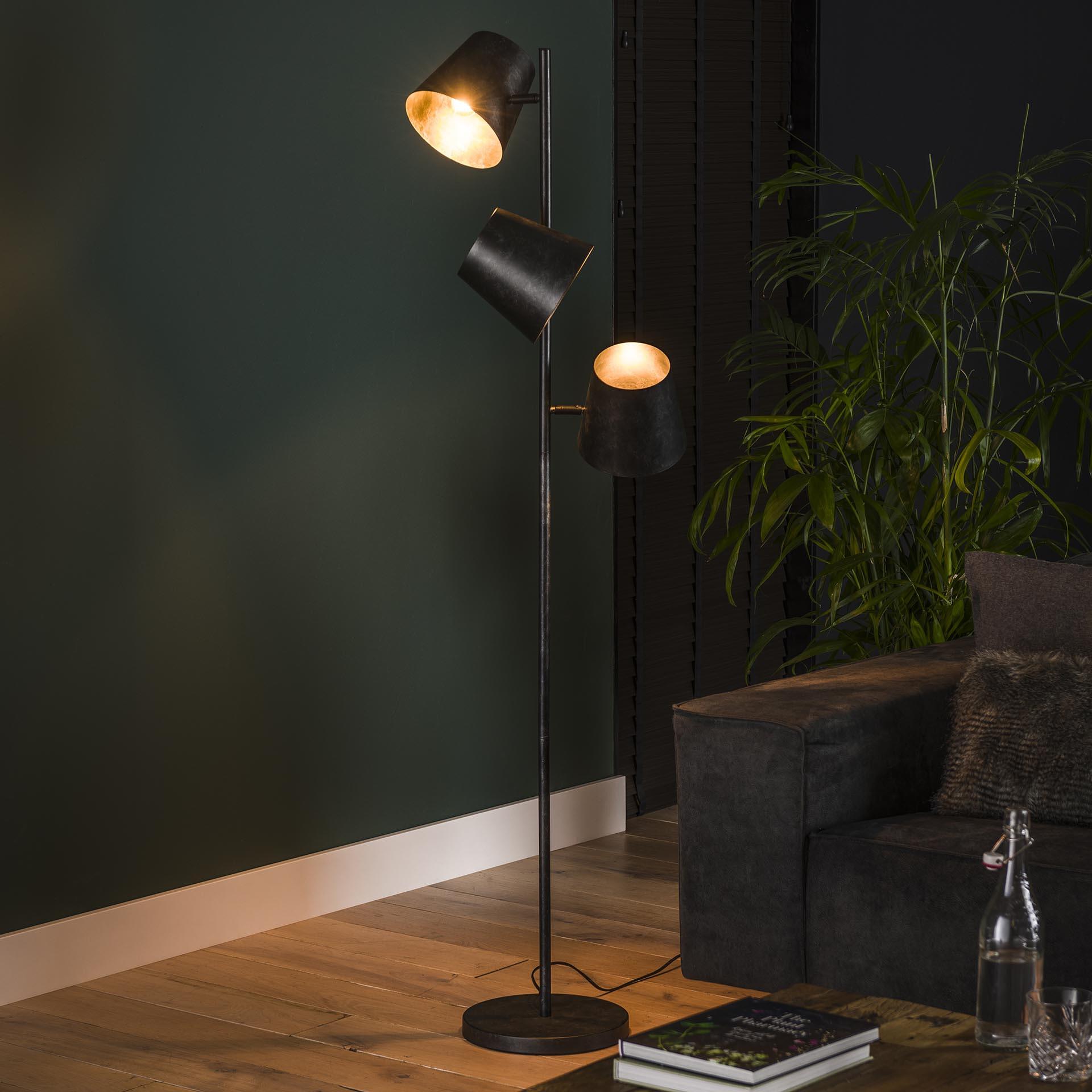 Vloerlamp 'Jo' 3-lamps, Ø18cm, kleur Charcoal