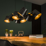Hanglamp 'Jo' 8-lamps, Ø18cm, kleur Charcoal