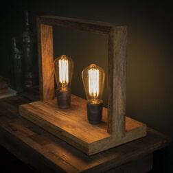 Tafellamp 'Wietze' 2-lamps, Mangohout