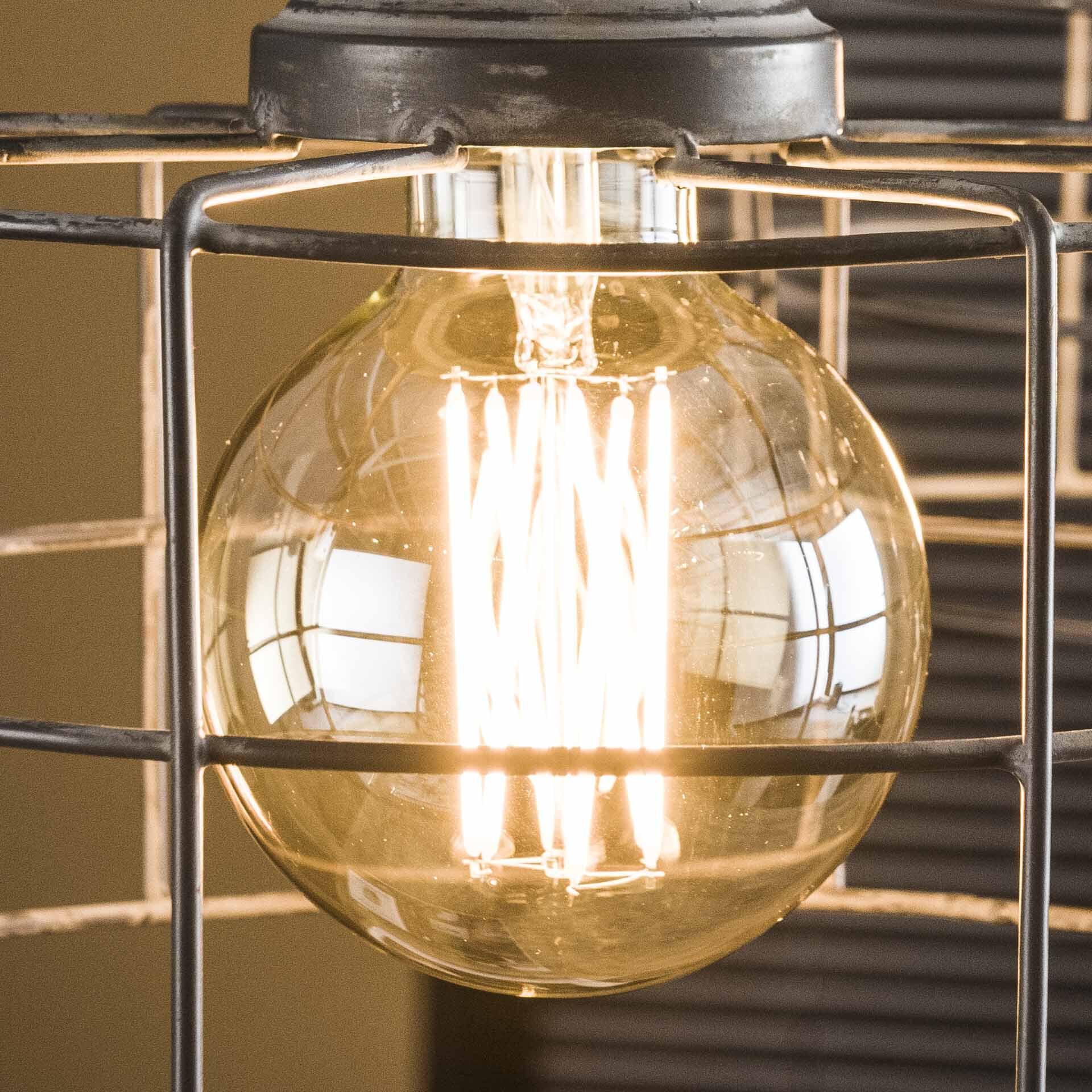 Kooldraadlamp 'Lydia' E27 LED 6W Ø9cm, kleur Amber, dimbaar