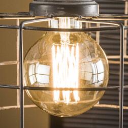 Kooldraadlamp 'Lydia' E27 LED 6W Ø9cm, kleur Amberkleurig glas