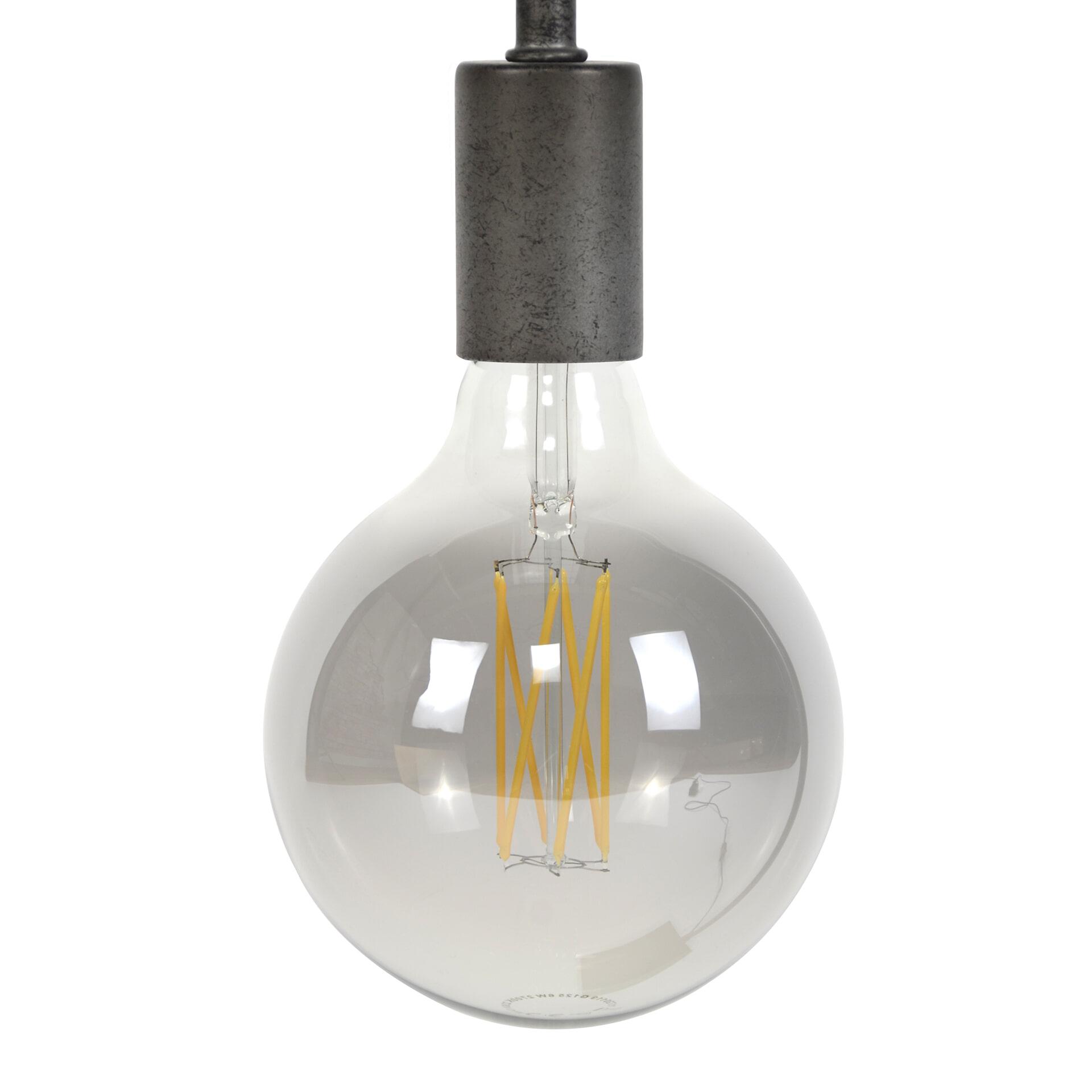 Kooldraadlamp 'Bol XL' Ø12cm E27 LED 6W, kleur Smoke Grey, dimbaar