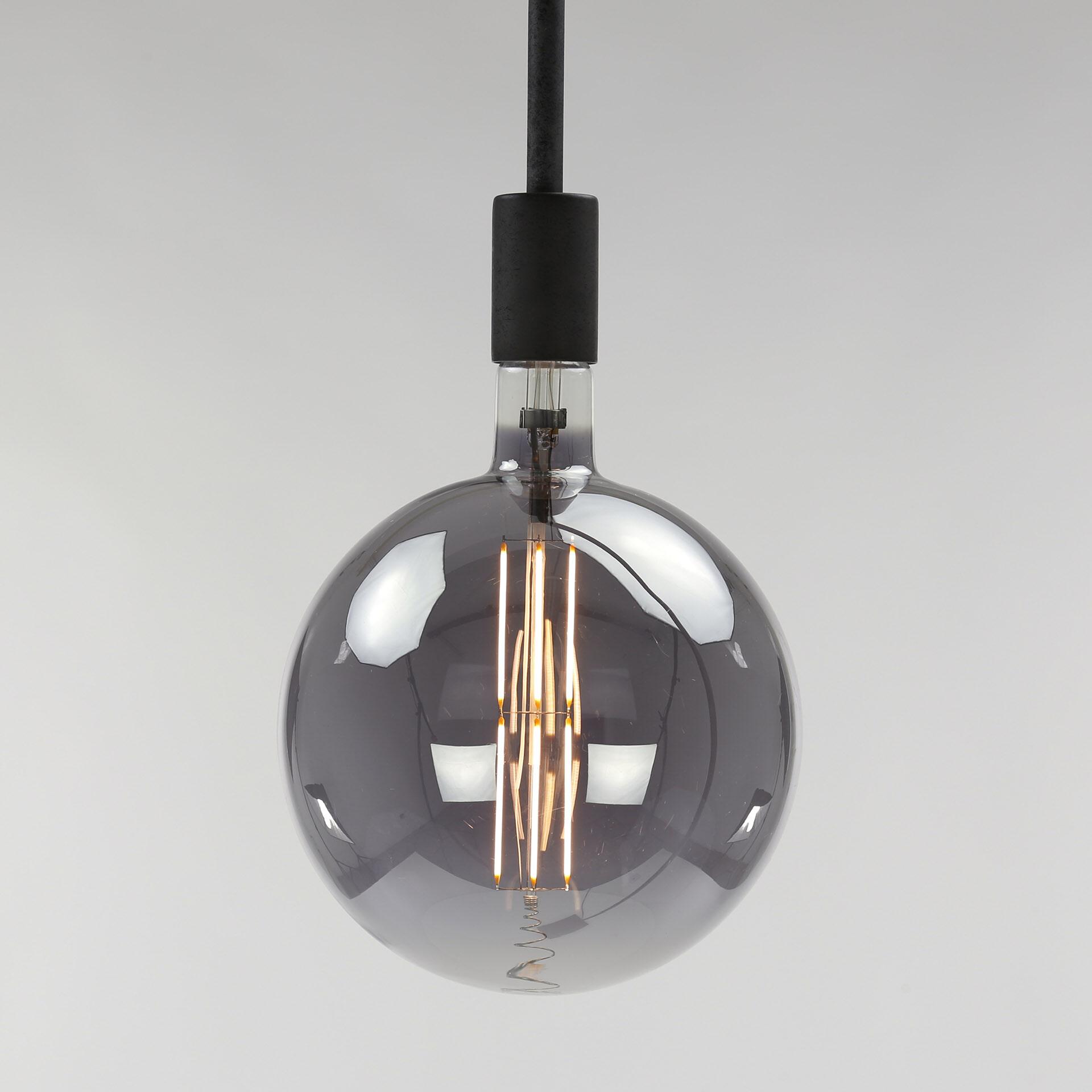 Kooldraadlamp 'Bol XXL' Ø20cm, LED E27 - 8W, Smoke grey, dimbaar