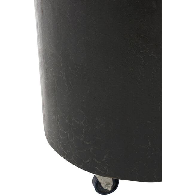 J-Line Bijzettafel 'Baudewijn' Wieltjes, kleur Zwart, Ø40cm
