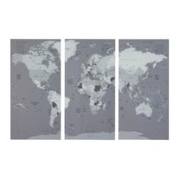 J-Line Wanddecoratie 'Antonius' Set van 3 stuks, Wereldkaart, kleur Grijs