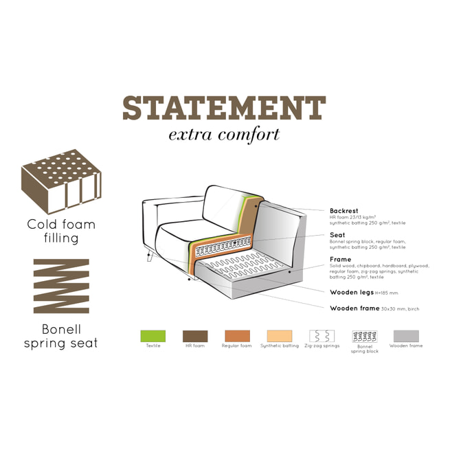 BePureHome Loungebank 'Statement' Links, Velvet, kleur taupe