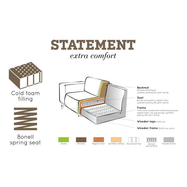 BePureHome Bank 'Statement' 4-zits XL, kleur Elephant Skin