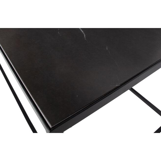 vtwonen Bijzettafel 'Side L' Zwart marmer, 90 x 45cm
