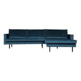 BePureHome Loungebank 'Rodeo' Rechts, Velvet, kleur Blauw