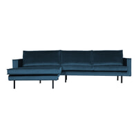 BePureHome Loungebank 'Rodeo' Links, Velvet, kleur Blauw
