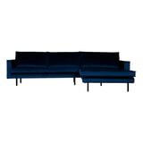 BePureHome Loungebank 'Rodeo' Rechts, Velvet, kleur Dark Blue